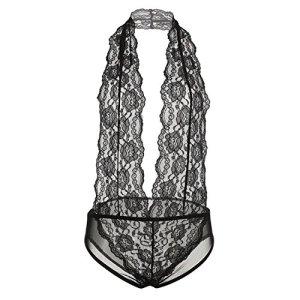 ZEARO Femmes Sexy Pyjama Lingerie en Dentelle Nuisette Robe De Nuit (L, Noir 8)