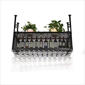 Casier à vin/Support en Verre à vin Suspendu en Fer Vintage/Barre pour Maison créative/Casier à vin, Noir (Taille: 120 * 35 * 36 cm)