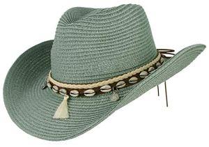 GEMVIE Chapeau Western – Chapeau de Cowboy Femme – Chapeau de Paille été Anti-UV Plage (Vert)