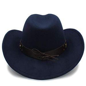 Yuying Cowboy Chapeaux Casquettes De Voyage pour Femmes Casquettes Hommes Chapeaux Western Cowgirl Vintage Cowboys Unisexe Chapeaux Felt Jazz Cap (Couleur : Bleu foncé, Taille : 56-58cm)