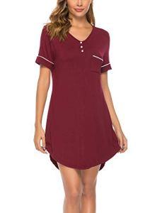 ABirdon Chemise de Nuit Femme,Manche Courte Robe de T-Shirt de Chemise de Nuit à en V S – Rouge – XXL