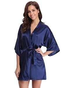 Abollria Robes de Chambre et Kimonos Robes de Mariée Femme Peignoir Satin Robes de Chambre Couleur Pure Vêtement de Nuit Sortie de Bain, Bleu Foncé, L