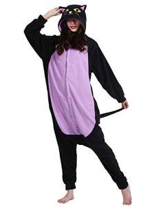Adulte Unisexe Anime Animal Costume Cosplay Combinaison Pyjama Outfit Nuit Vetements Onesie Halloween Costume Soiree de Deguisements, Chat