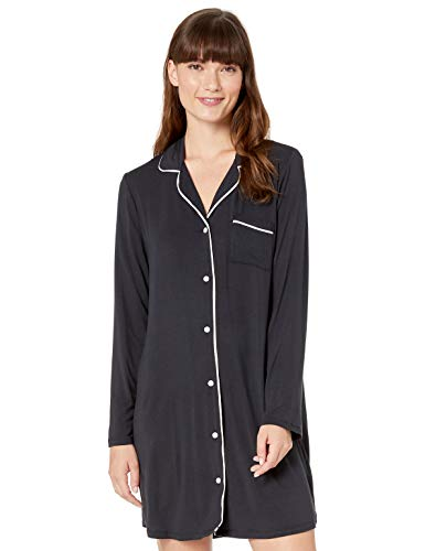 Amazon Essentials Piped Nightshirt pajama-tops, Noir, US (XS-S)