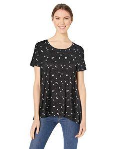 Amazon Essentials – T-shirt trapèze à manches courtes et col rond pour femme, Dot Ground Floral Black, US S (EU S – M)
