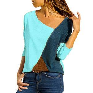 Amlaiworld 2019 Hiver Tunique T-Shirt Femme Patchwork Manche Longue Grande Taille Coton Chemisier Leopard Femmes Blouse Blanche Coton Chic Haut Pull Taille S/M/XL/L/5XL