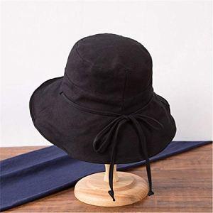 ASDWA Chapeau De Soleil Femme,Vintage Dames Chapeau De Soleil Couleur Unie Casual Noir Pliable Protection UV Chapeau Cadeau De Pâques pour Hommes Femmes Été Beach Cap