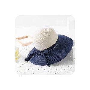 baixa Summer Sun Hats Chapeau de Soleil d'été rayé avec nœud pour Femme – Multicolore – M(56 58 cm)