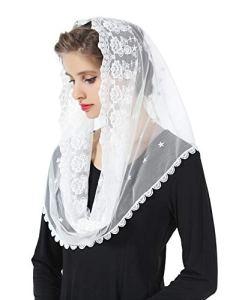 BEAUTELICATE Voile d'église Chapelle Tête Mantille En Dentelle Catholique Messe Latin Étole Écharpe de Mariage Mariée Blanc Noir V104