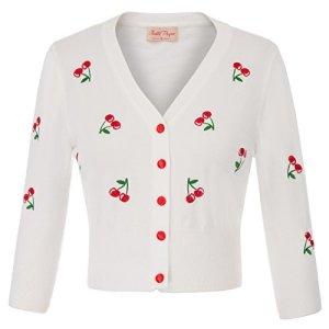 Belle Poque Mesdames Vintage des années 1950 Broderie Cerise Broderie Manches 3/4 Cardigan Shrug Floral-2 (609-2) XX-Large