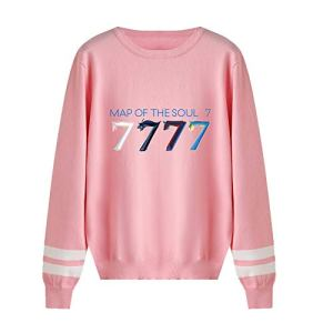 BTS Map of The Soul 7 Pull Baseball Femm Homme Haut Tricoté Sweatshirt Hip Hop Chandail Tunique Hiver Grande Taille Chemise Laine Blouse a Rayure Tee Shirt Manche Longue Sweater Top A15240MY015XL