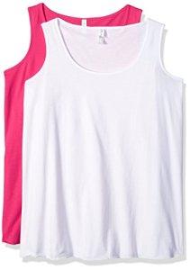 Clementine Apparel Women's Ladies Curvy Plus Premium Tank (2 Pack), Hot Pink/White, Size 2 (18-20)