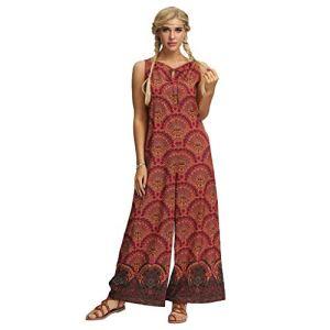 Combinaison de yoga pour femme – Décontractée – Imprimé lâche – Boho – Pantalon de yoga – Pour le sport, le yoga, les femmes, M, Rouge, 1