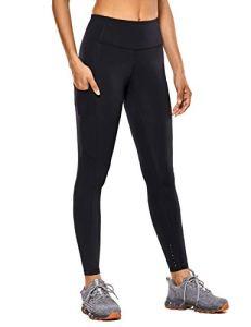CRZ YOGA Femme Legging de Sport Fitness Taille Haute en Tissu Léger avec Poche-63cm Noir New-R427 36
