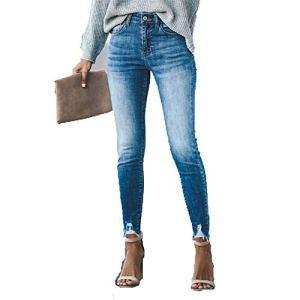 DENGZHOUSHIYA Femmes Couleur Jeans Mince Fin Frange Trou Shaper Coton Brut Sexy Basse, Fibre synthétique, Noir foncé, 2XL
