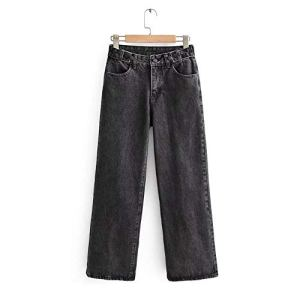 DENGZHOUSHIYA Femmes Couleur Mode Taille Haute Pantalon Jambe Large Lâche Droite Skinny Jeans Pantalon Shaper Coton Brut Sexy Basse, Fibre synthétique, Noir, Small