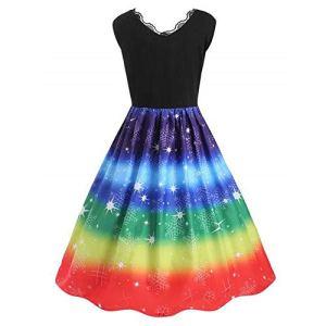 DOLLAYOU Robe de soirée pour Femme Style Vintage avec col en V et col en V – Multicolore – XXXL