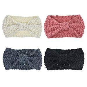 DRESHOW 4 Pièces Femme Crochet Tricot Turban Bandeaux Bande de Cheveux Chauffe Oreille