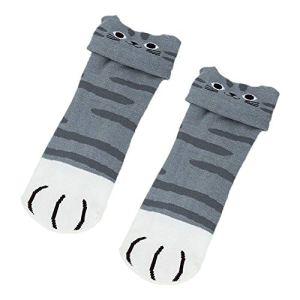 eamqrkt 1/3/5 Paire de Chaussettes tricotées Motif Anime du Japon Cosplay, Gris, 3 Pair