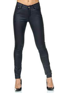 Elara Pantalon Femme en Simili-Cuir Effet Push Up Chunkyrayan E621-1 Navy-36 (S)