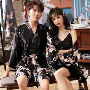 Eroticddmm Chemises de Nuit Femme Pyjamas Femmes Couple en Soie Pyjamas Pyjamas en Soie Hommes à Manches Longues en Soie glacée Peignoirs Service à Domicile VA mâle XXL Noir