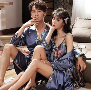 Eroticddmm Chemises de Nuit Femme Pyjamas Femmes Couple en Soie Pyjamas Pyjamas en Soie Hommes à Manches Longues Peignoirs en Soie de Glace Service à Domicile VA mâle XXXL Bleu