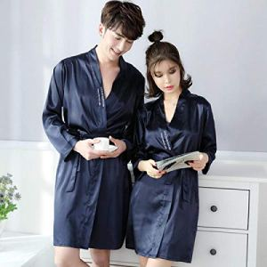 Eroticddmm Lingerie Femme Pyjamas Femmes Couple Soie Pyjamas Pyjamas Soie Hommes Manches Longues Peignoirs en Soie glacée Service à Domicile VA Femelle L Bleu