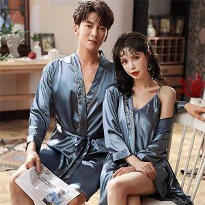 Eroticddmm sous-vêtements Femme Pyjamas Femmes Couple en Soie Pyjamas Pyjamas en Soie Hommes à Manches Longues Peignoirs en Soie glacée Service à Domicile VA mâle L Bleu