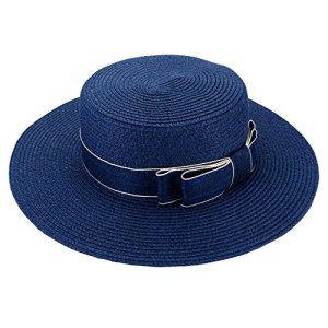 FALETO Chapeau de Paille de Soleil Pliable Femme Panama Capeline Décor Nœud Visière d'Été Protection Anti UV Plage Loisirs Voyage Jazz Lady Hat(Bleu)