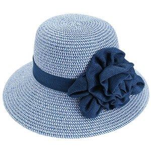 Faleto Chapeau de Paille de Soleil Pliable Souple Femme Panama Jazz Capeline Fleurs Visière d'Été Anti UV Plage Loisirs Voyage Lady Hat, Bleu, pour la taille de tête 56-57cm