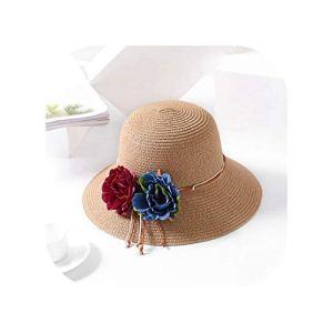 Fantastic-Journey Sun Hat Chapeau de Plage pour Femme avec Grand nœud en Paille et Fleurs – Kaki – Taille Unique