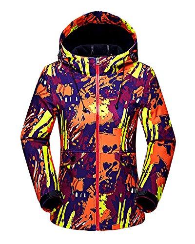 Femmes Encapuchonné Softshell De plein air Imperméable Camouflage Veste de Ski Randonnée Manteau Orange S