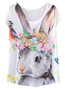 FUTURINO T-Shirt à Manches Courtes pour Femme Motif Flamant Rose – Multicolore – Large