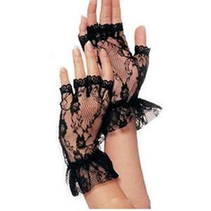 Gants courts en dentelle noire pour femme – En filet gothique gothique – Pour déguisement de mariage