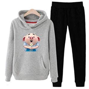 GFDHGT Beau Cochon Hoodies Pant Vêtements Set Casual 2 Piece Set Vêtements Chauds Survêtement Solide Femmes Set Top Pants Ladies Suit, Grey, XXL