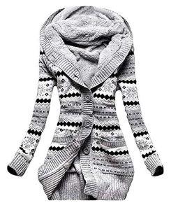 Godoboo Femme Hiver Toison Tricoté Bouton Pulls Cardigan Femme Pull Vêtements Cardigan Tunique Sweats à Capuche Tricots Manteaux