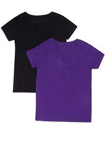 Hollywood Star Fashion T-Shirt à Manches Courtes col en V pour Femme – Noir – Medium