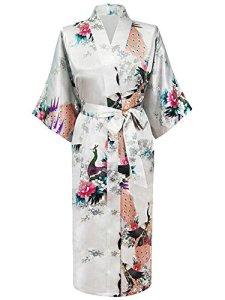 HonourSport-Kimono Japonais en Satin Sexy Robe de Chambre Peignoir-Femme (Blanc,XL)