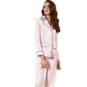HQ-PJS Vêtements de Nuit Motif Animal Soie Chemises De Nuit Nuisette Femmes Pyjama Ensemble 2 Pièces Lapel Manches Longues Silky avec Bouton Notte (Color : Pink, Size : 160 M)