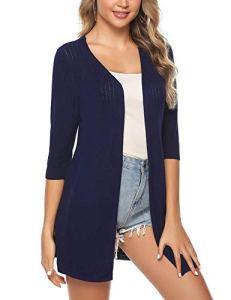 iClosam Gilet Femme Long Tricot Veste Femme Longue Pull Gilet Femme Manches Longue (Bleu4, L)
