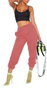 Janisramone Pantalon de Jogging pour Femme uni avec Poignets – Noir – 36