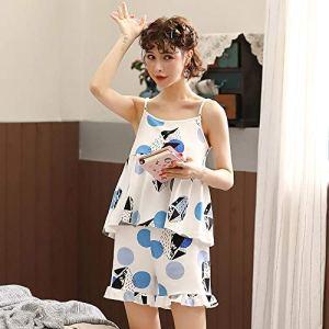 LSJSN Pyjama Pyjamas en Coton De Mode pour Femmes D'Été avec Coussin Home Wear Plus Size Confortable Vêtements De Maison-M