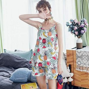 LSJSN Pyjama Pyjamas en Coton Ensemble Taille Élastique Shorts Femmes Deux Pièces Ensembles Flora Fruits Motif Col en V Été Kawaii Mode -XL