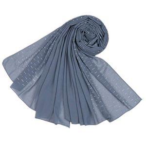 MoreChioce Femme Turban Hijab,Foulard Musulman Bonnet Islamique Chapeau Bandana Strass Headscarf Indienne Châle Mousseline Foulard Cheveux Elegant Longue Hijabs Head Wrap Cap,Bleu Gris
