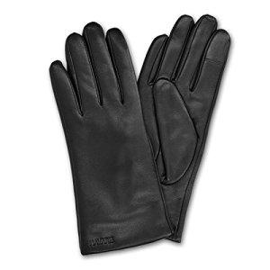 Navaris gants tactiles pour femme – Paire gant en cuir agneau avec doublure en cachemire – noir – différentes tailles disponibles