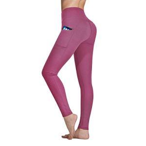 Occffy Legging de Sport Femme Pantalon de Yoga avec Poches Yoga Fitness Gym Pilates Taille Haute Gaine DS166 (Bégonia Rose, XXL)