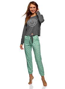 oodji Ultra Femme Pyjama en Coton avec Pantalon, Gris, FR 36 / XS
