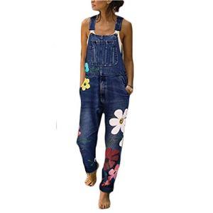 ORANDESIGNE Combinaison Femme Femme Salopette en Jeans Slim Jumpsuit Pantalon Floral Casual Grand Taille pour Printemps Automne