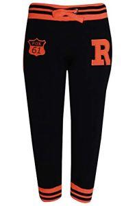 Pantalon de Jogging 3 Quarts pour Femme 2/4 de Longueur Pantalon de Sport décontracté SI121 – Noir – 36-46