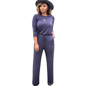 Pantalon Solid O Neck Fashion Street Combinaisons Femmes Barboteuses Combinaisons Bodycon pour Les Femmes (sans Chapeau) -Blue_Grey_L